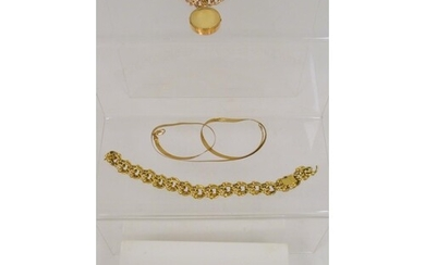 Two 9ct gold curb bracelets one with locket, another and a M...
