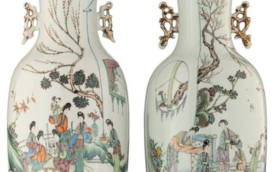 Two Chinese polychrome vases, both vases decorated with...