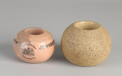Two English terracotta matchsticks. Terracotta with