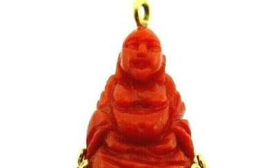 VINTAGE French 18k Yellow Gold & Carved Coral Buddha