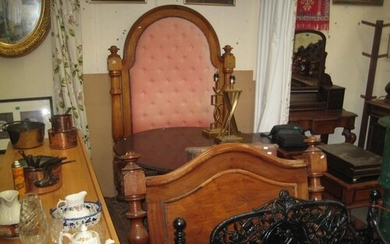 Victorian Mahogany Bed Frame with Upholstered Panel Headboar...