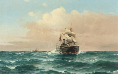 Vilhelm Bille: Ships in high seas. Signed and dated Vilh Bille, 92. Oil on canvas. 71×106 cm.