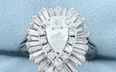 Vintage 3 1/2ct TW Pear Diamond Engagement Ring in