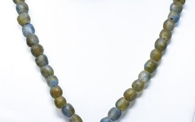 Vintage Sterling African Glass Bead Jade Necklace