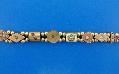 WOW Victorian 14k Yellow Gold & Gemstone Slide Bracelet