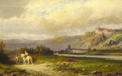 William Henry Cooper (1858-?). River landscape with horse and...