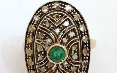 14 kt. Silver, Yellow gold - Ring - 0.36 ct Emerald - Diamonds, 0.52