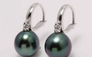 14 kt. White Gold - 9x10mm Tahitian Pearl Drops