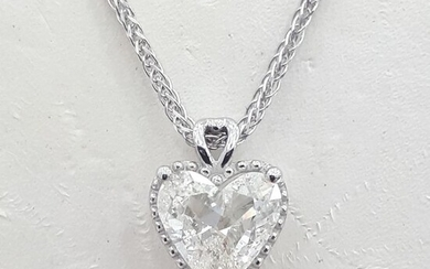 14 kt. White gold - Necklace with pendant - 1.00 ct Diamond