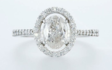 14 kt. White gold - Ring - 1.37 ct Diamond - Diamonds