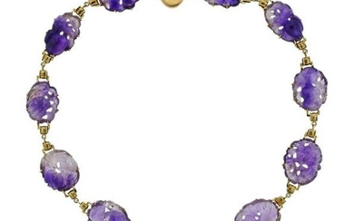 14K Gold Carved Amethyst Necklace