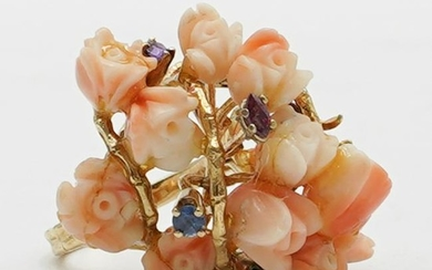 14k Gold and Angel Skin Coral Ring
