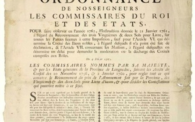 1762. LANGUEDOC. GOODS & NOBLE RIGHTS. ORDER of Our Lords The Commissioners of the King and of the GENERAL STATES of the Province of Languedoc: DE SAINT PRIEST, + F. Bishop of MONTPELLIER, CAMBACÈRES, Mayor of MONTPELLIER, FARGO Mayor of CASTRES. 2...