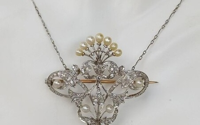 18 kt. Gold - Brooch, Necklace with pendant Diamond - Diamonds, Pearls