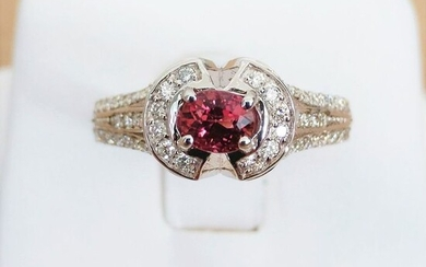 18 kt. White gold - Ring - 0.49 ct Tourmaline - Diamond