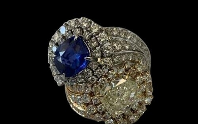 18 kt. White gold, Yellow gold - Ring - Diamonds, Sapphires