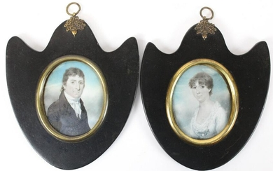 1820's English Pair of Watercolor Portraits