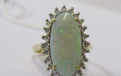 18CT YELLOW GOLD OPAL & DIAMOND CLUSTER RING, principle larg...