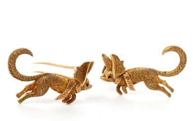 18k Gold Leaping Dog or Fox Collar Clips PAIR