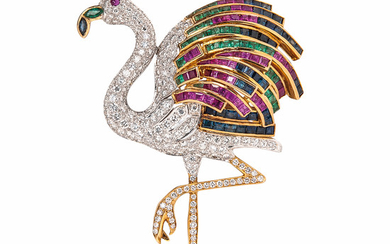 18kt Gold, Diamond, and Gem-set Flamingo Brooch