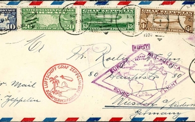 1928/30 ZEPPELIN COVERS TO GERMANY - 1930 5c stationery env....