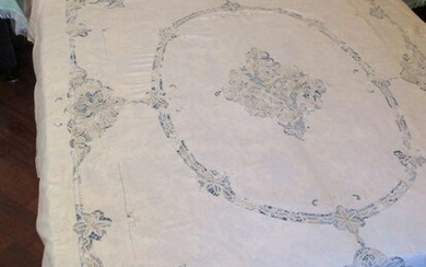1960 Double Bedspread Chicchierino processing with hand embroidery - Linen - Second half 20th century
