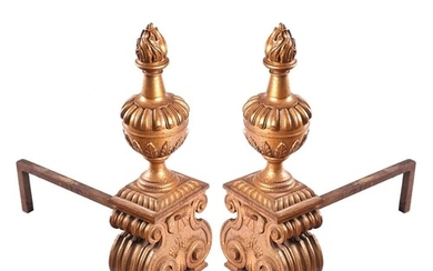 19TH-CENTURY FRENCH BARONIAL CAST IRON FIRE DOGS