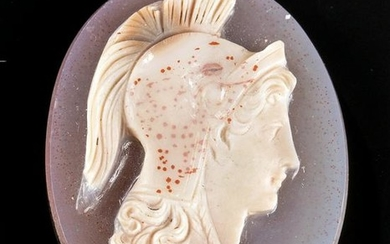 19th C. Victorian Glass Cameo of Athena