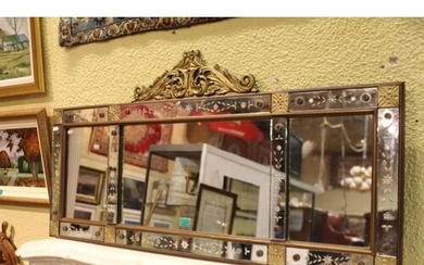 19th Century Gilt Overmantle with Art Glass Panel Compartmen...