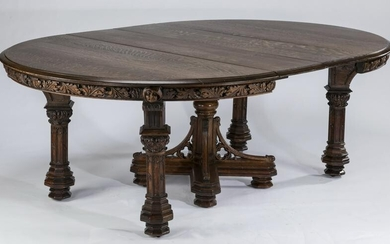 19th c. carved oak Gothic Revival table w/ 2 leaves
