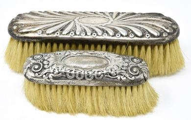 2 Antique Sterling Silver Hairbrushes