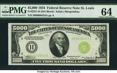 20095: Fr. 2221-H $5,000 1934 Federal Reserve Note. PMG