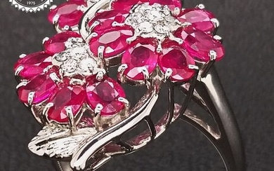 3.13ct BURMA Rubies and Diamonds Ring White gold - Ring - ***NO RESERVE PRICE***