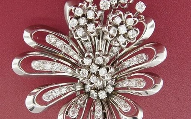 3.96 cts DIAMOND WHITE GOLD FRENCH FLOWER MOTIF BROOCH