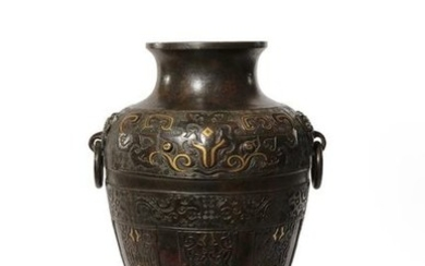 A CHINESE ARCHAISTIC BRONZE VASE, LEI LATE MING...