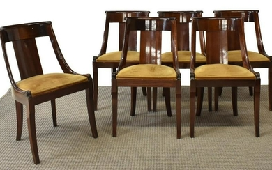 (6) FRENCH MAHOGANY DINING CHAIRS