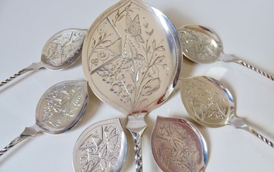 6 beautiful ice cream spoons with 1 serving spoon floral and engraved with butterflies - .833 silver - Fa. J.M. van Kempen & Zn te Voorschoten - Netherlands - 1891