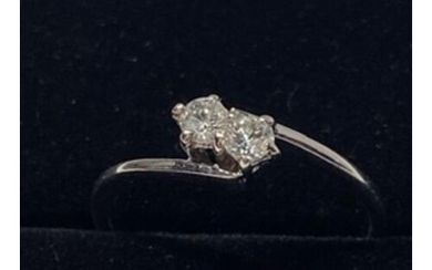 9ct White Gold Two Stone Twist Cubic Zirconia