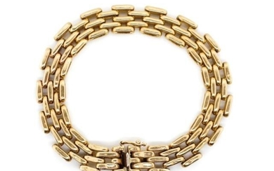 "9ct rose gold ""brick"" link bracelet marked 375 to the box cl..."