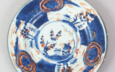 A 19TH CENTURY CHINESE IMARI PORCELAIN PLATE, (AF),