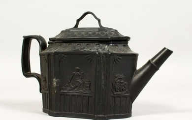 A BLACK BASALT SHAPED TEAPOT AND COVER with classical