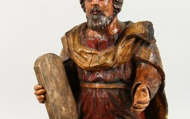"""A CARVED AND PAINTED GROUP, """"Moses Holding a Tablet"""""""