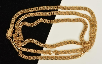 A CHAIN, the fancy curb link chain with a push piece clasp, ...