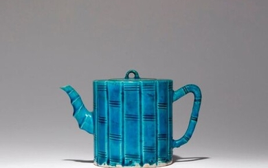 A CHINESE TURQUOISE GLAZED 'BAMBOO' TEAPOT AND COVER KANGXI 1662-1722...