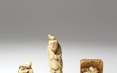 A COLLECTION OF EIGHT JAPANESE NETSUKE EDO PERIOD AND LATER, 18TH CENTURY AND LATER Seven made of wood, variously carved as Daruma, Shoki the Demon Queller, a sennin holding an alms bowl, a warrior holding a shoe, a rabbit and its leveret, and a parrot...