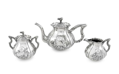 A Chinese Export Silver Three-Piece Tea Service