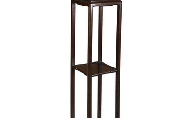 A Chinese carved hardwood tall incense stand With square...