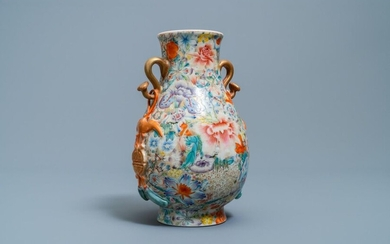 A Chinese famille rose 'hu' vase with millefleurs design, Qianlong mark, Republic