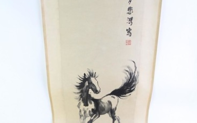 A Chinese scroll featuring a horse (L194cm)