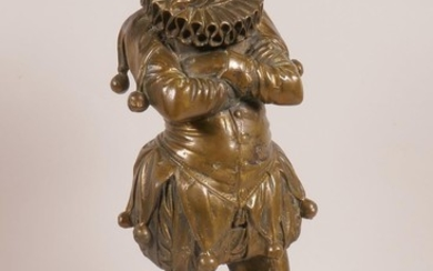 A Continental bronze figurine of a jester in Elizabethan cos...